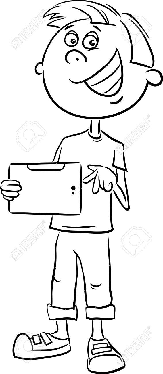 Dibujos Animados De Blanco Y Negro Ilustración De Muchacho ...