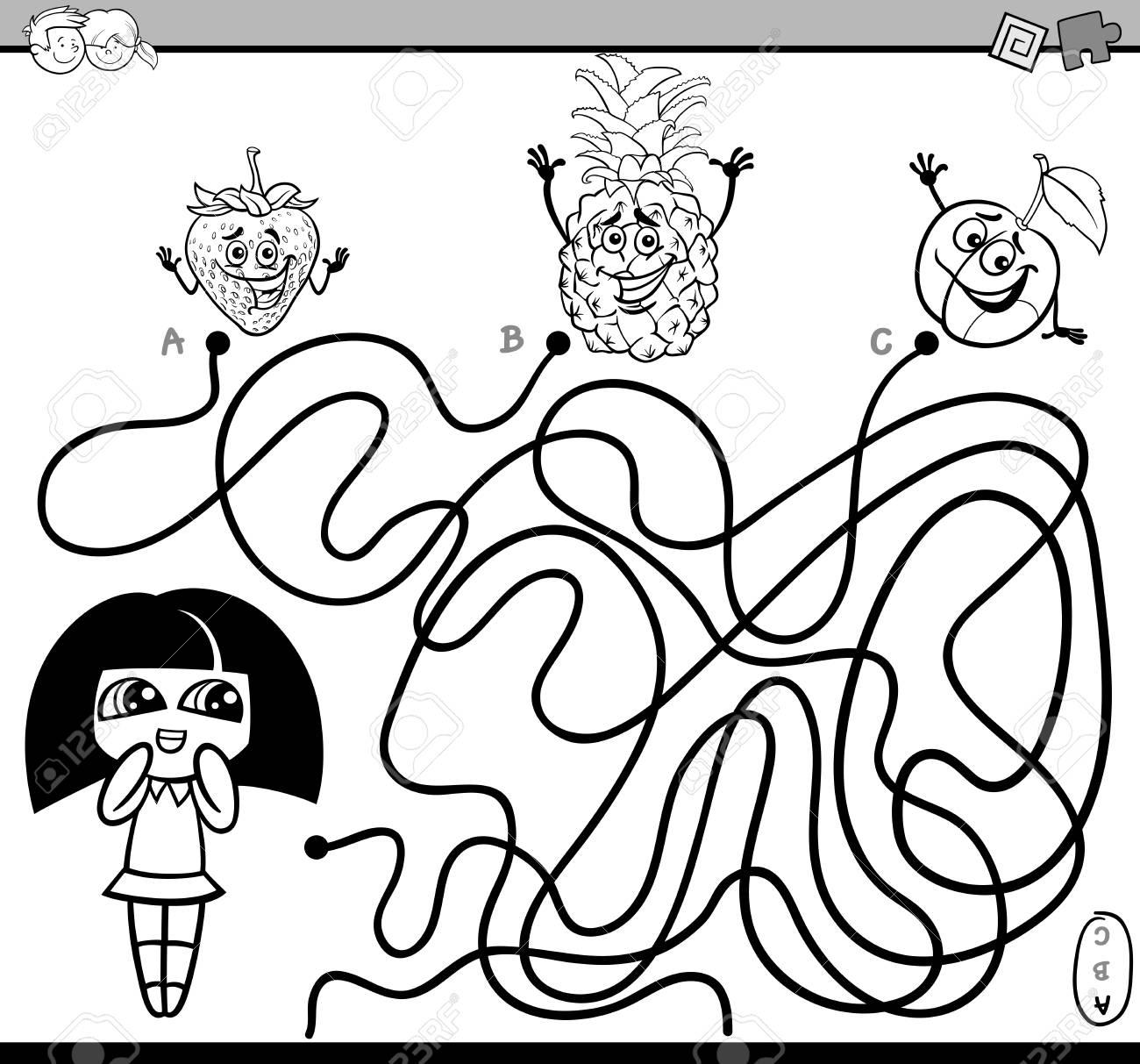 Illustration De Dessin Animé Noir Et Blanc De Parcours éducatifs Ou Activité De Puzzle Labyrinthe Avec Livre De Coloriage Fille Et Fruits