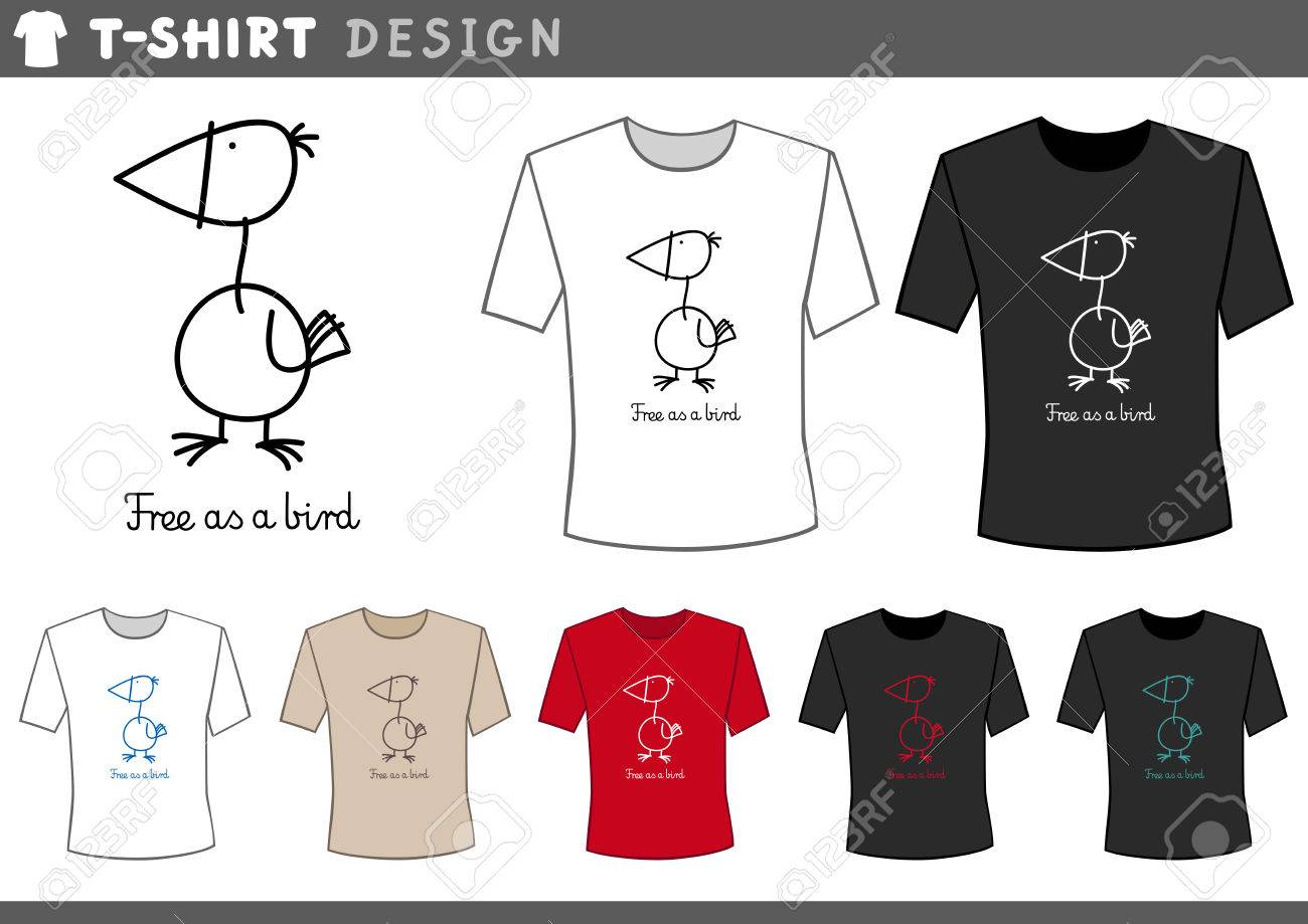 Illustration Of T-Shirt Design Template With Funny Bird And Free ...