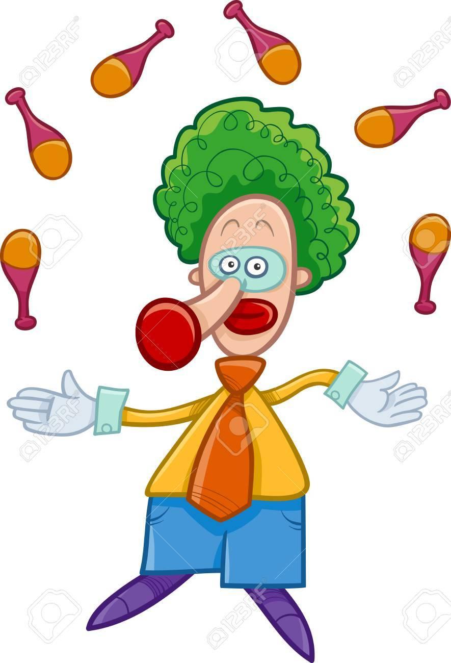 Ilustración De Dibujos Animados Divertido Del Payaso De Circo Que Hace Juegos Malabares Personaje En La Serie Ilustraciones Vectoriales Clip Art Vectorizado Libre De Derechos Image 64101288