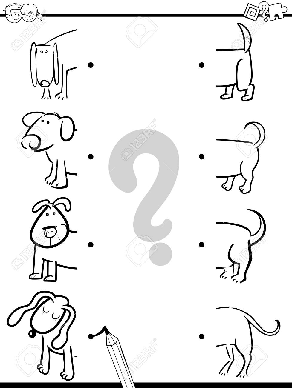 Dibujos Animados De Blanco Y Negro Ilustración De La Actividad De Educación Preescolar De Juego Mitades De Tareas Con Caracteres Del Perro Para