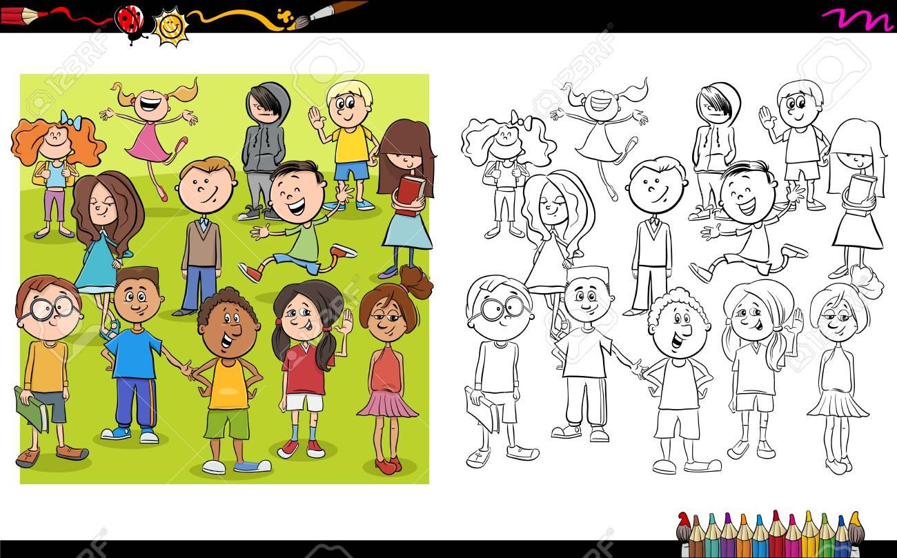 Ilustración De Dibujos Animados De Niño O Personajes Adolescentes ...