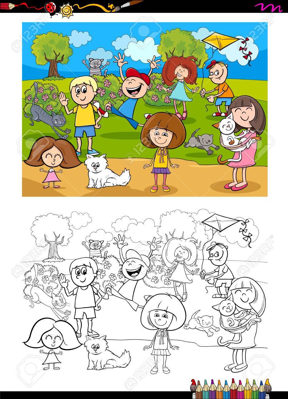 Illustrazione Del Fumetto Dei Bambini Con Attività Del Libro Da Colorare Dei Gatti