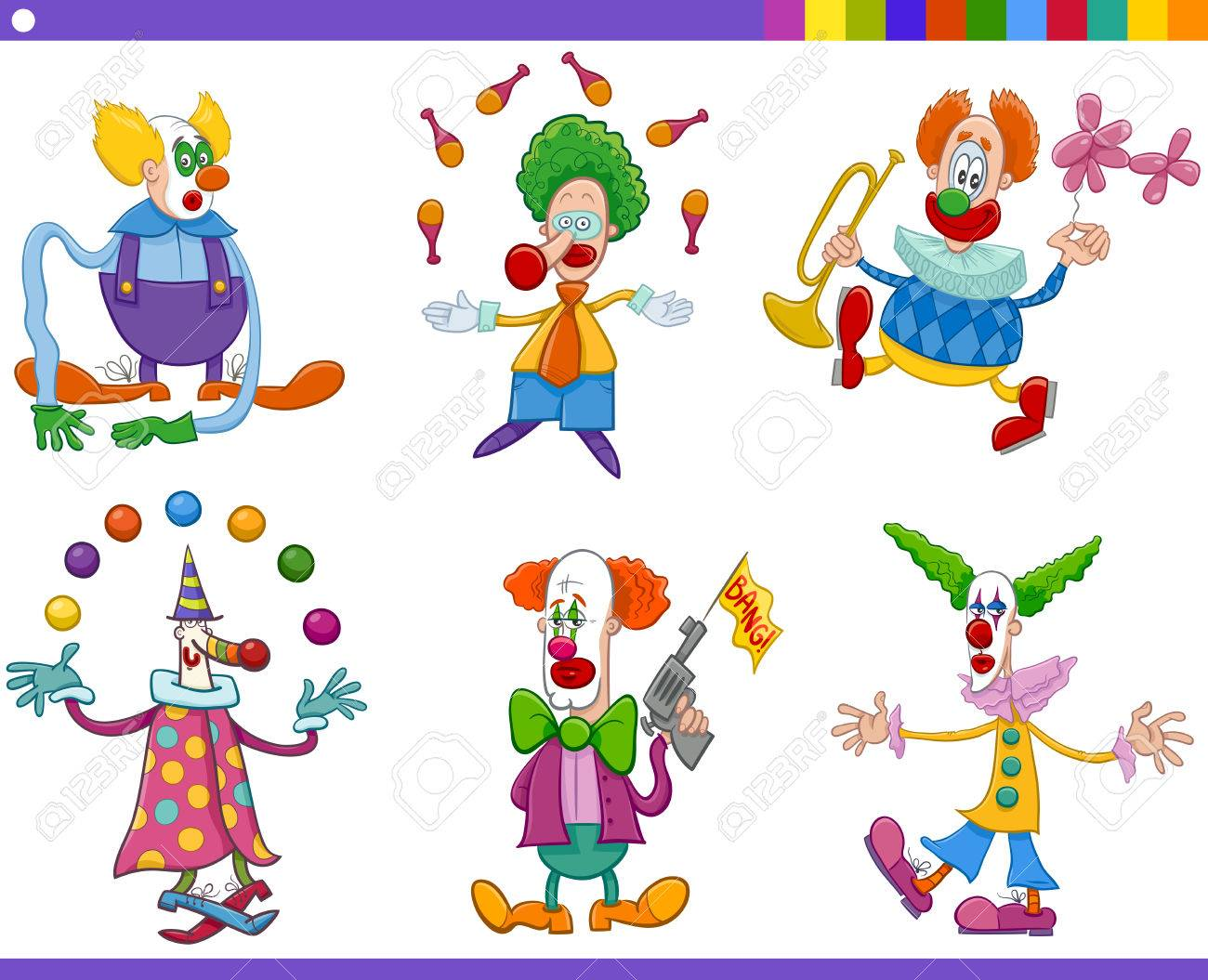 cartoon illustration of circus clown characters collection royalty