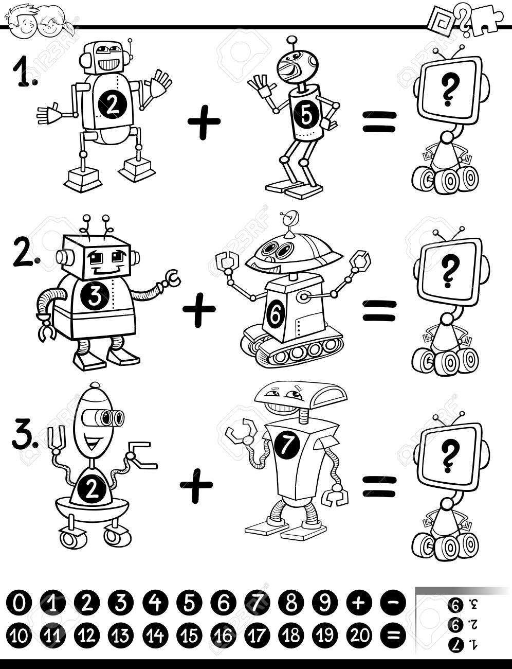 Ilustracion De Dibujos Animados Blanco Y Negro De Matematica