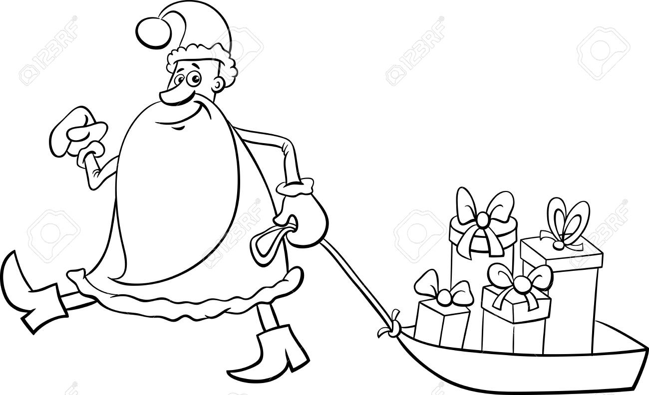 black and white cartoon illustration of santa claus christmas presents on the sledge coloring book stock