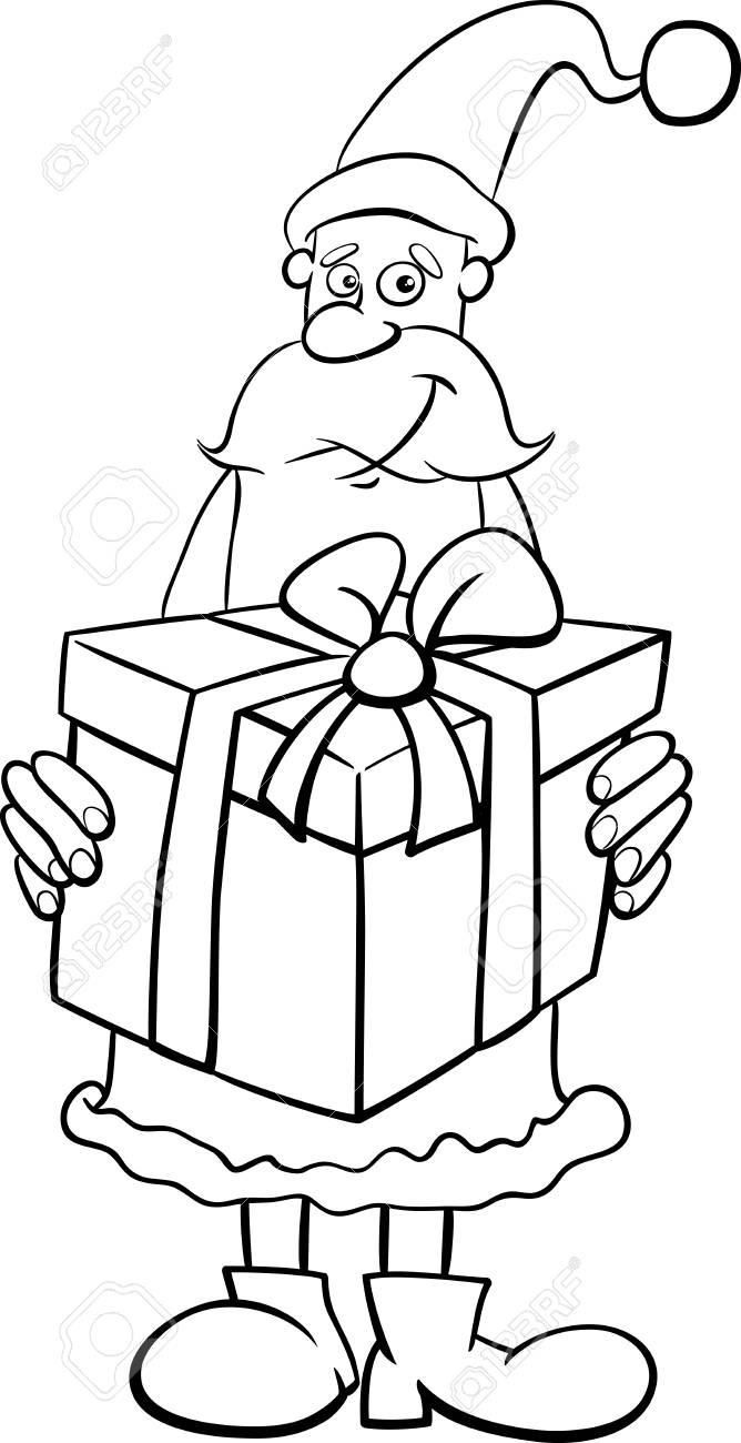 Ilustración De Dibujos Animados Blanco Y Negro De Santa Claus Con ...