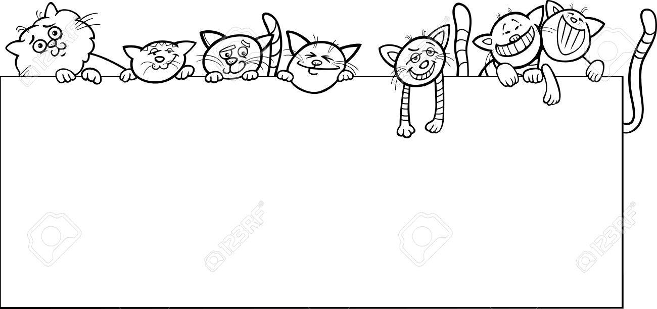 Black And White Cartoon Illustration Of Cute Cats With Frame ...