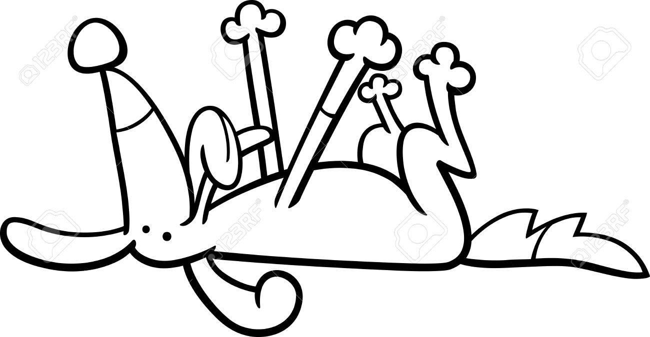 幸せな犬動物キャラクターぬりえページの白黒漫画イラスト
