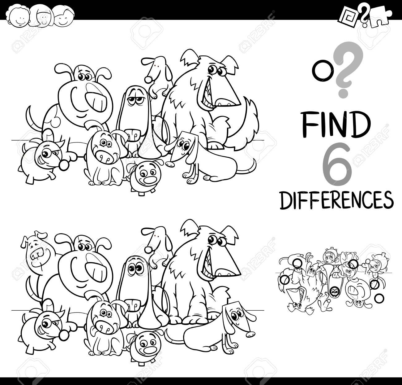 子供を犬ペット動物キャラクター塗り絵詳細教育活動を見つけることの黒と