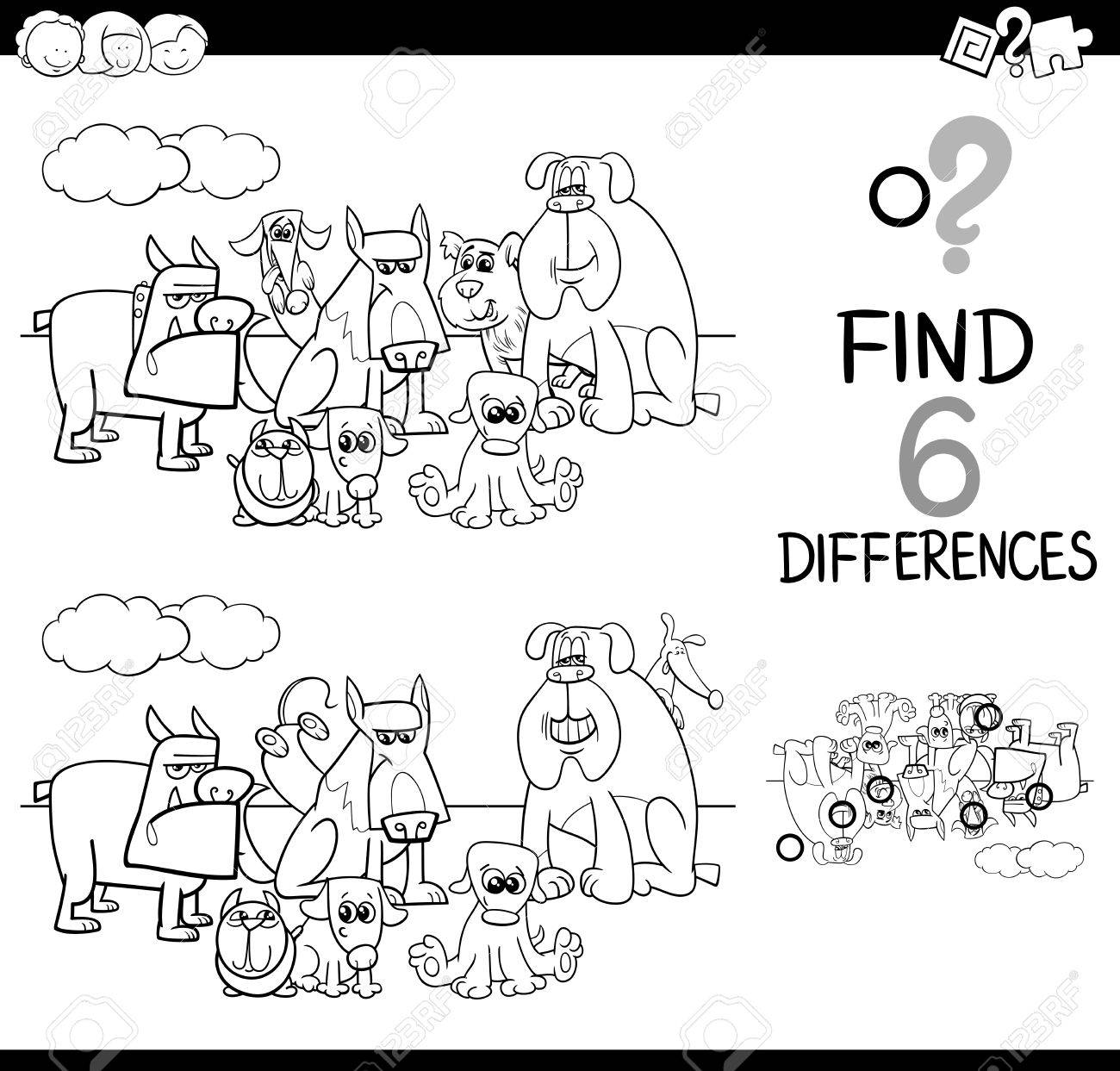 Bianco E Nero Fumetto Illustrazione Di Trovare Differenze Educativo Di Attività Per Bambini Con Personaggi Cani Animali Da Colorare