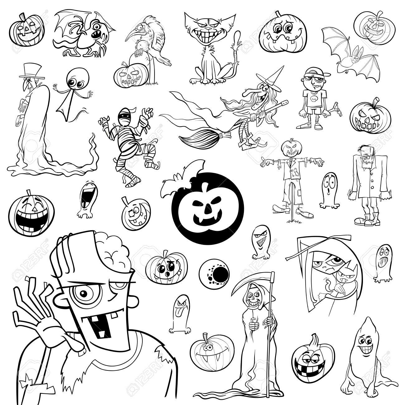 Ilustración De Dibujos Animados Blanco Y Negro De Halloween De Vacaciones Temas Y Diseño Conjunto De Elementos Ilustraciones Vectoriales Clip Art Vectorizado Libre De Derechos Image 64103024
