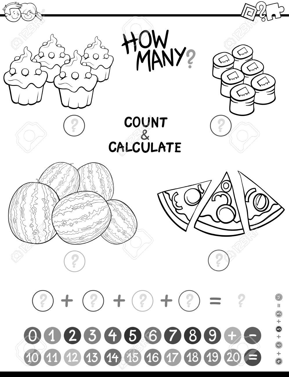 Ilustración De Dibujos Animados En Blanco Y Negro De La Educación Matemática Contar Y Adición De Actividades Para Niños En Edad Preescolar Para