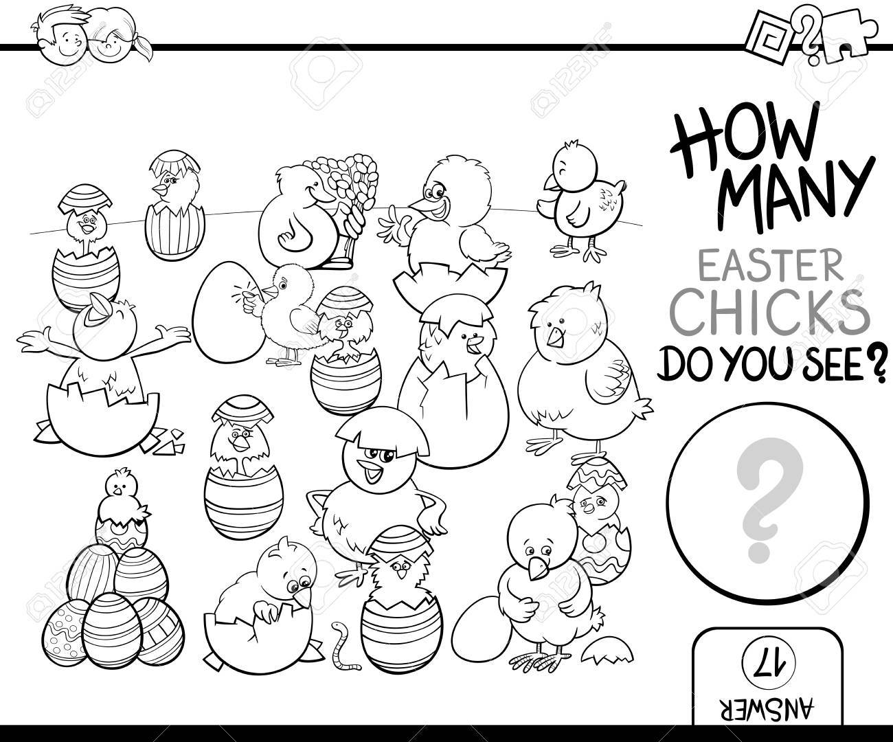 black and white cartoon illustration of educational counting