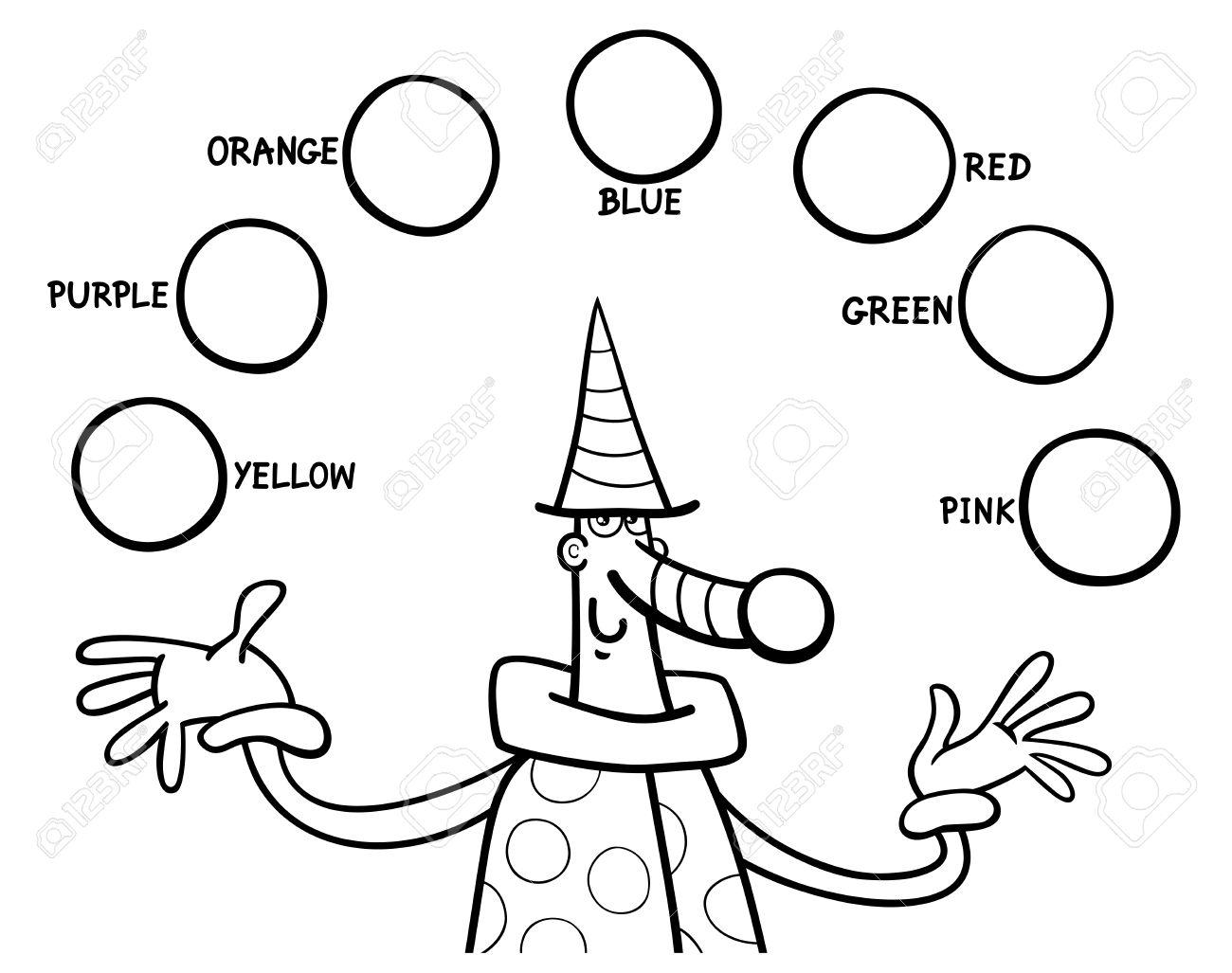 Dibujos Animados De Blanco Y Negro Ilustración De Los Colores ...