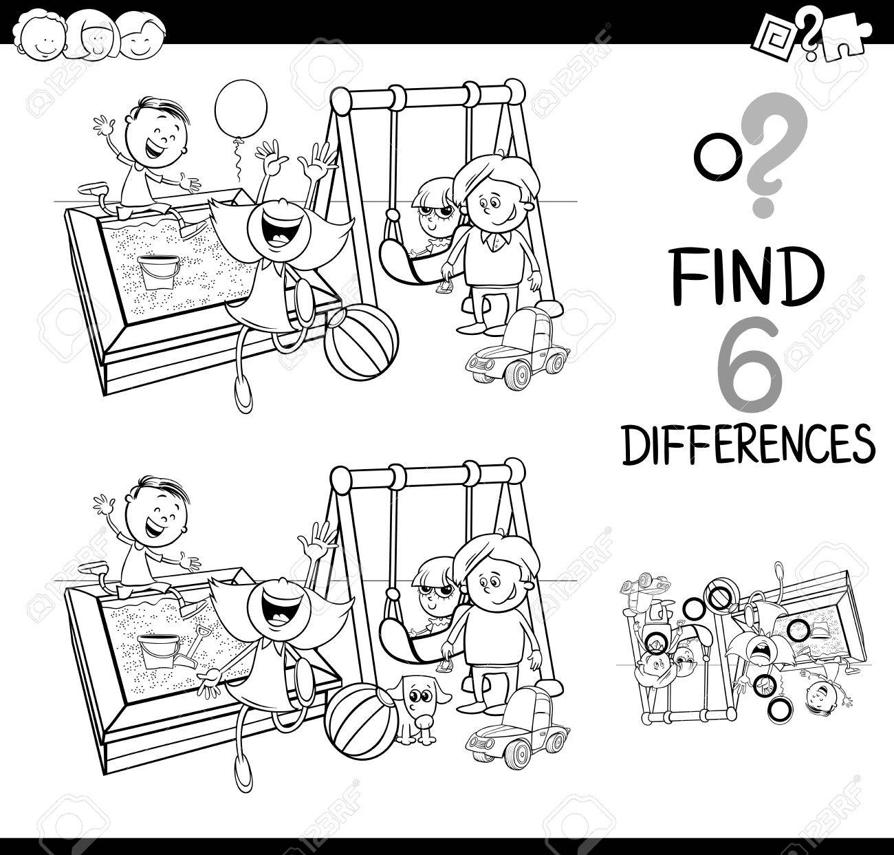Childrens educational coloring activity book - Black And White Cartoon Illustration Of Finding The Difference Educational Activity For Children With Kids On