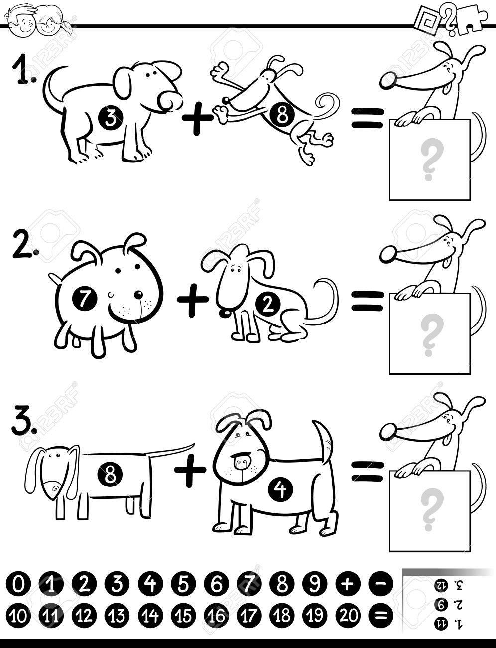 塗り絵犬文字児教育数学追加アクティビティ タスクの黒と白の漫画