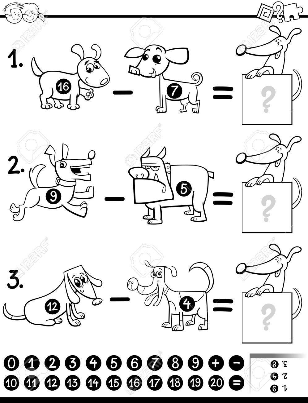Schwarz-Weiß-Karikatur Illustration Der Pädagogischen Mathematischen ...