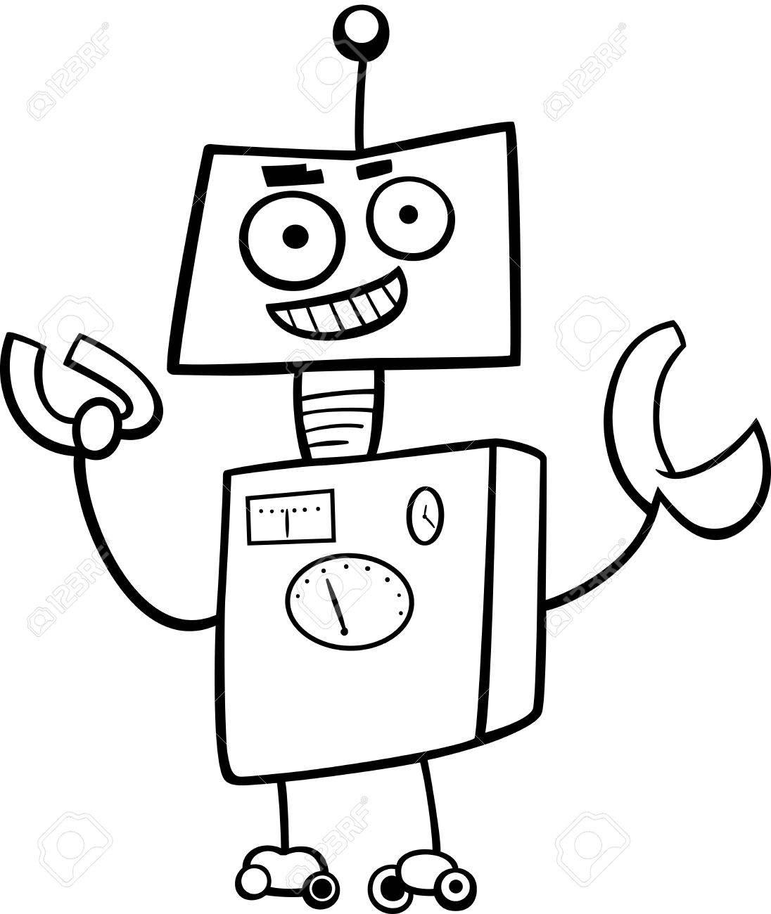 Ilustración De Dibujos Animados De Blanco Y Negro Divertido Robot O Del Personaje Droid Página Para Colorear