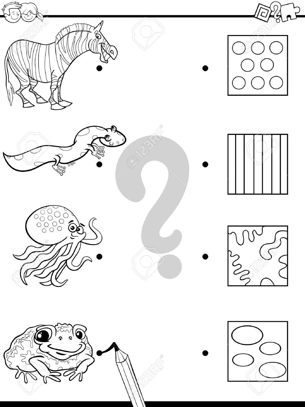 Ilustración De Dibujos Animados Blanco Y Negro De Educación De Imagen Juego De Las Coincidencias Para Niños Con Personajes De Animales Para Colorear