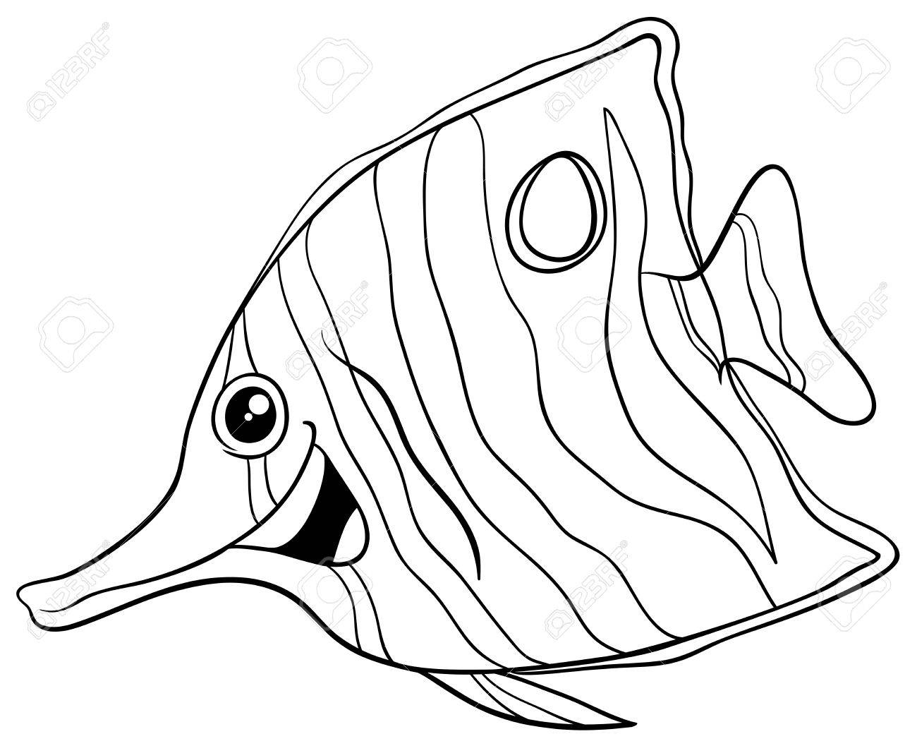 Dibujos Animados De Blanco Y Negro Ilustración De La Mariposa ...