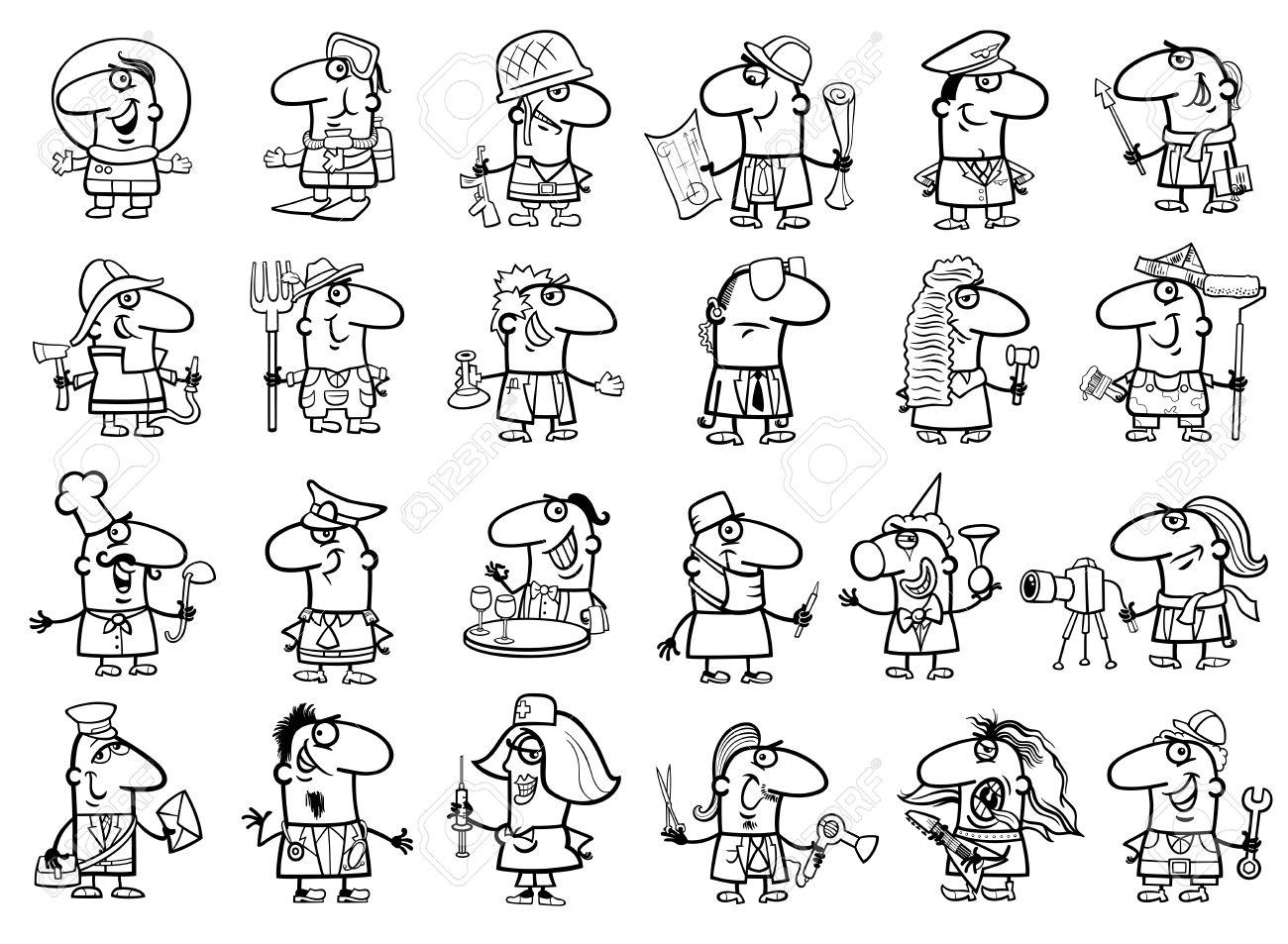 Ilustración De Dibujos Animados En Blanco Y Negro De Personas ...