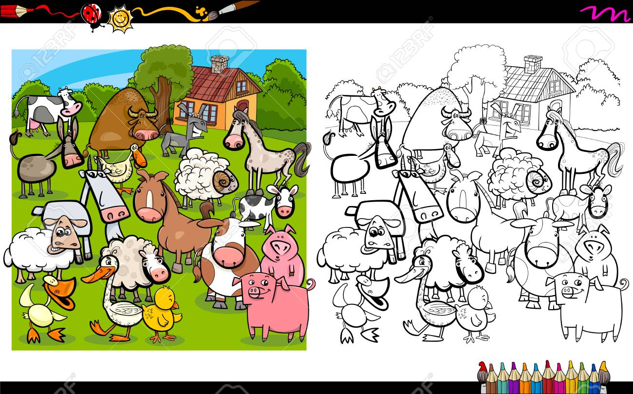 Ilustración De Dibujos Animados De Caracteres Granja De Animales Para Colorear Libro De Actividades
