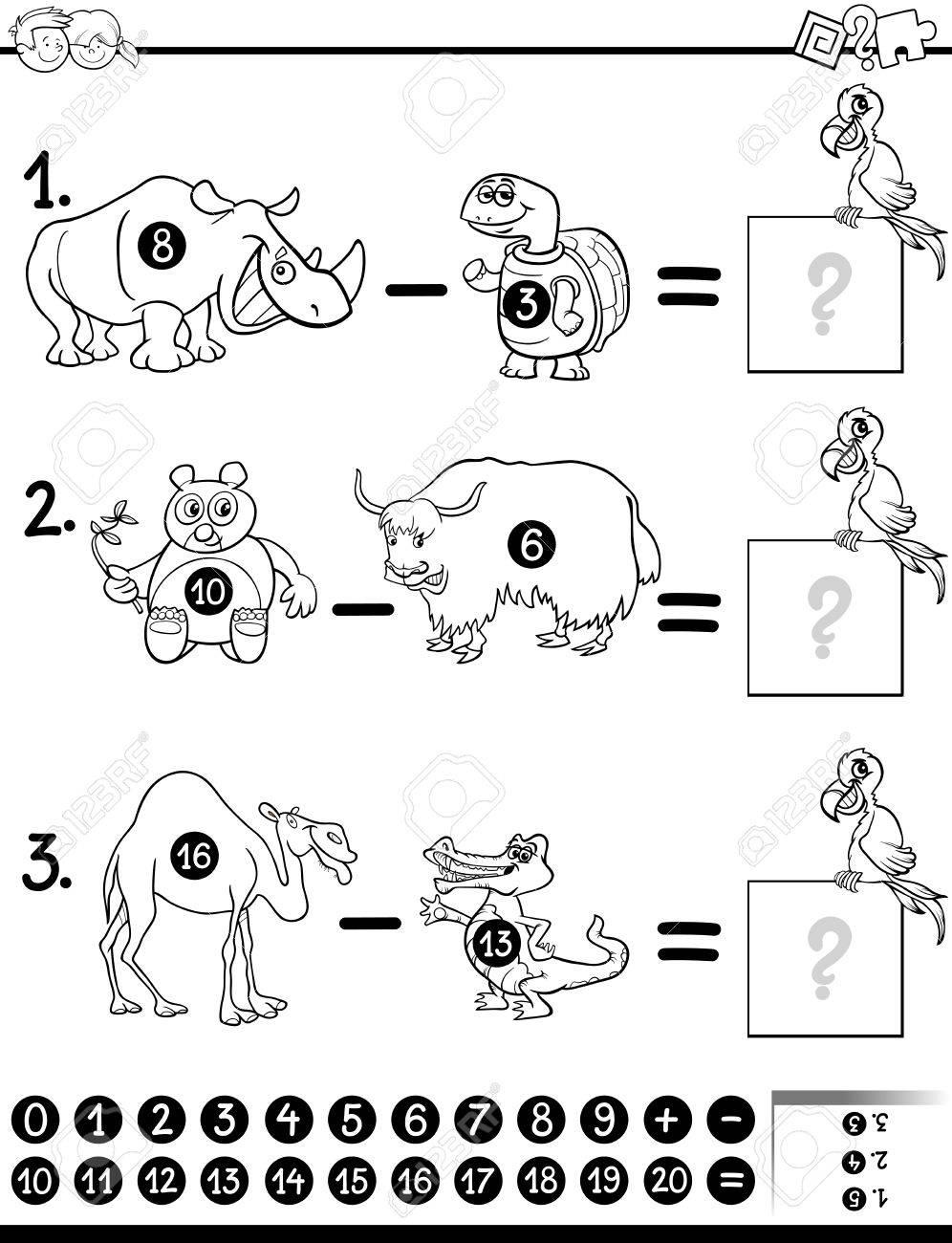 Ilustración De Dibujos Animados En Blanco Y Negro De La Educación