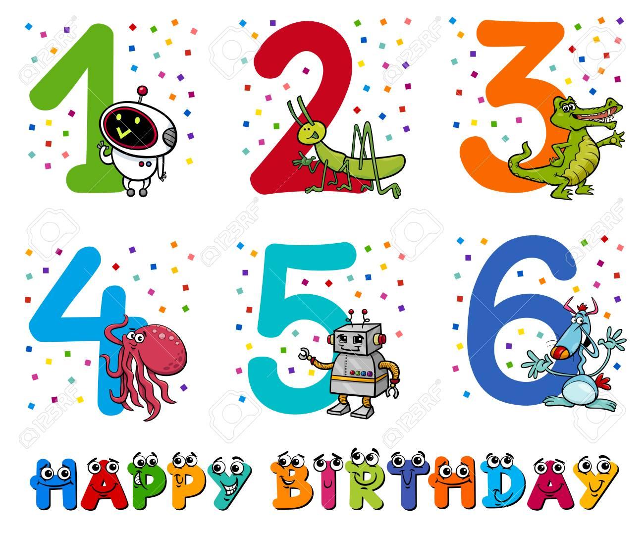 Cartoon Illustration Design Of The Birthday Greeting Cards Set