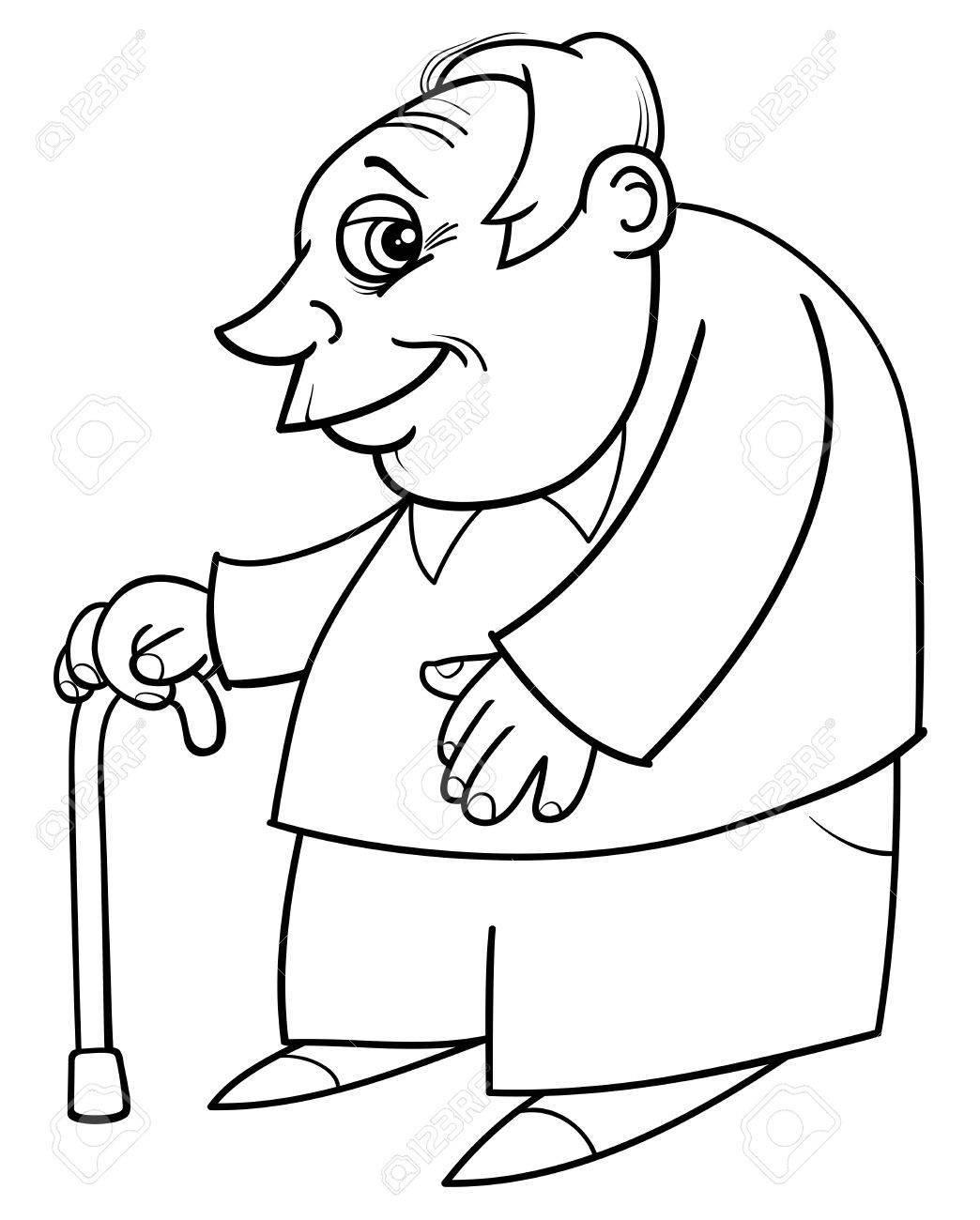 Ilustración De Dibujos Animados En Blanco Y Negro De La Tercera Edad ...