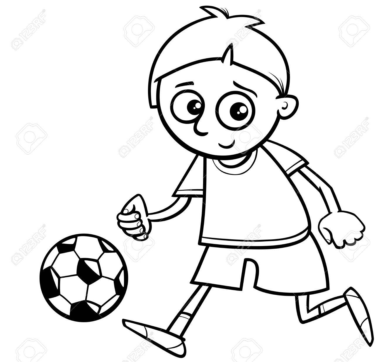 Black and White Cartoon Illustration of Boy Playing Football..