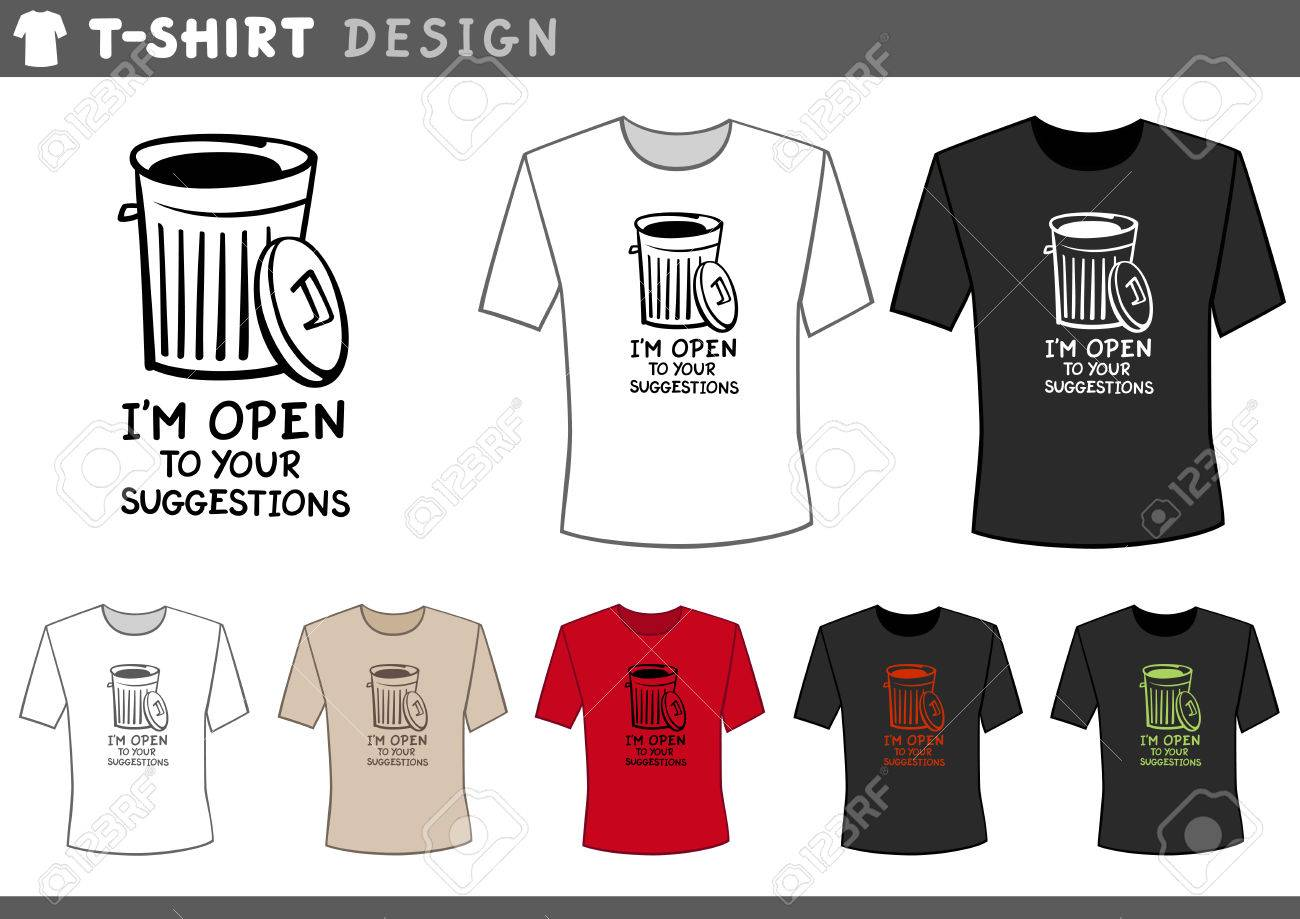 8980fa62 Illustration of T-Shirt Design Template with Trash Can and Humorous Text  Stock Vector -