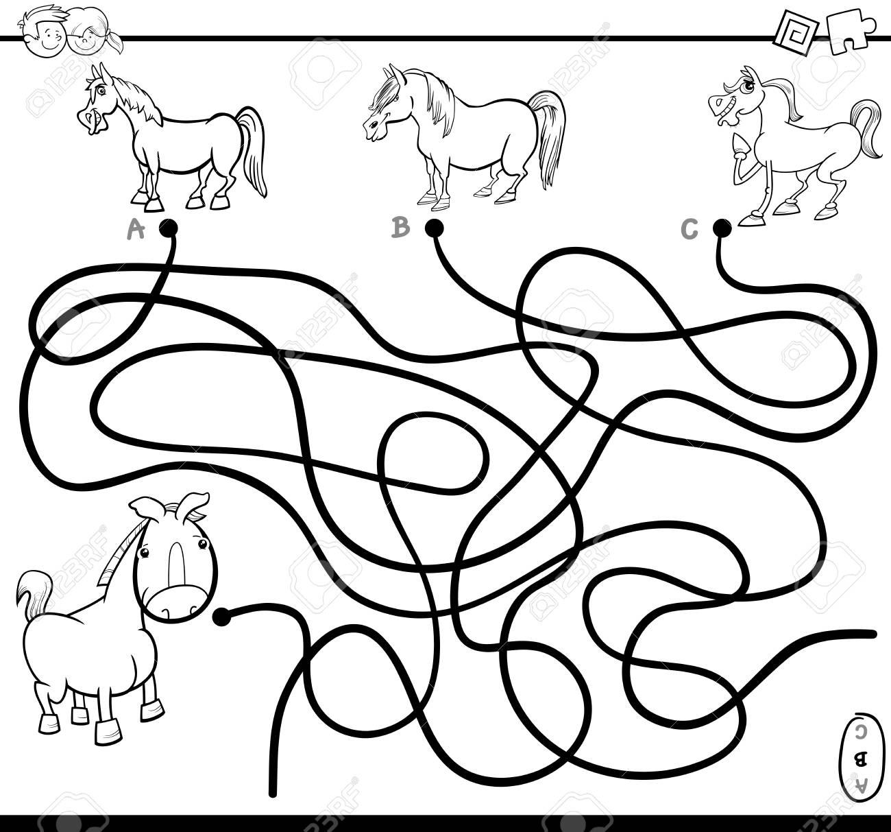 Ilustración De Dibujos Animados En Blanco Y Negro De Las Trayectorias O Del Laberinto Juego De Actividad Del Rompecabezas Con El Potro Y Los Caballos