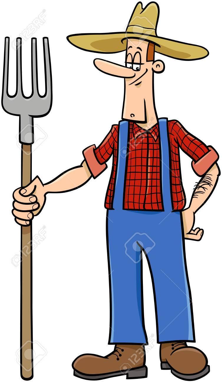 Ilustración De Dibujos Animados De Trabajador Granjero Ilustraciones