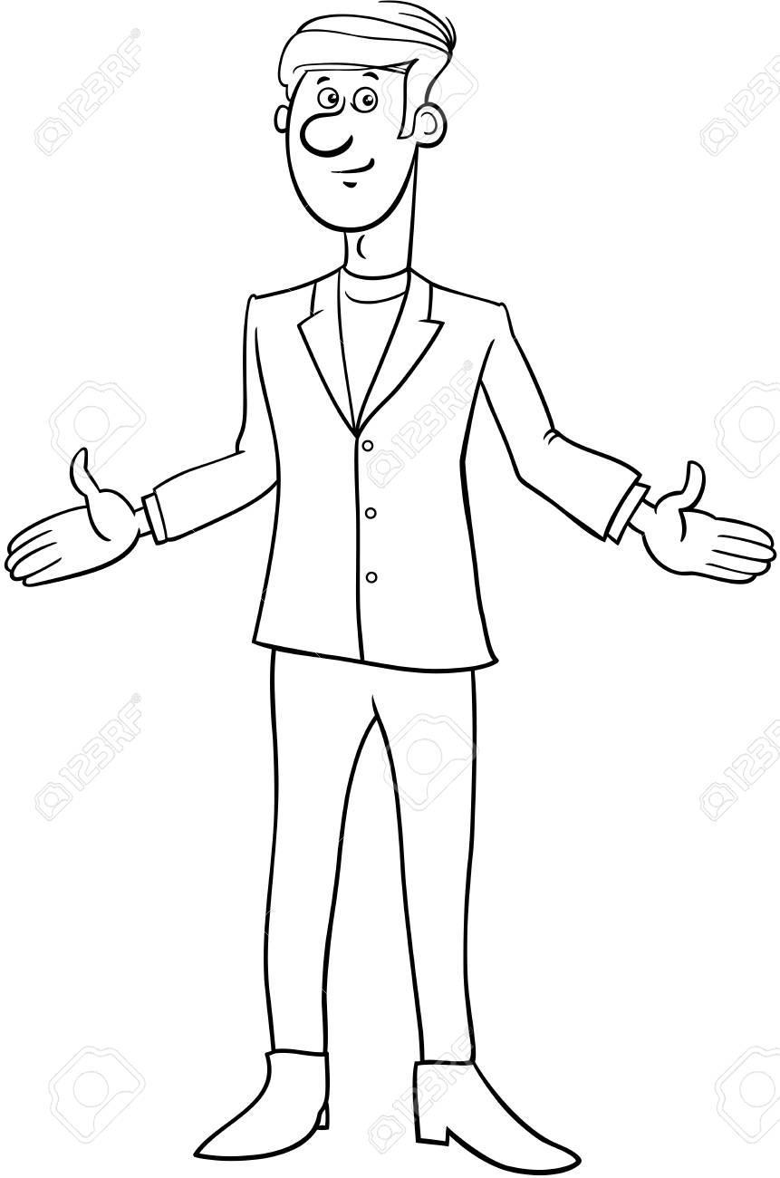 Ilustración De Dibujos Animados Blanco Y Negro De Hombre O
