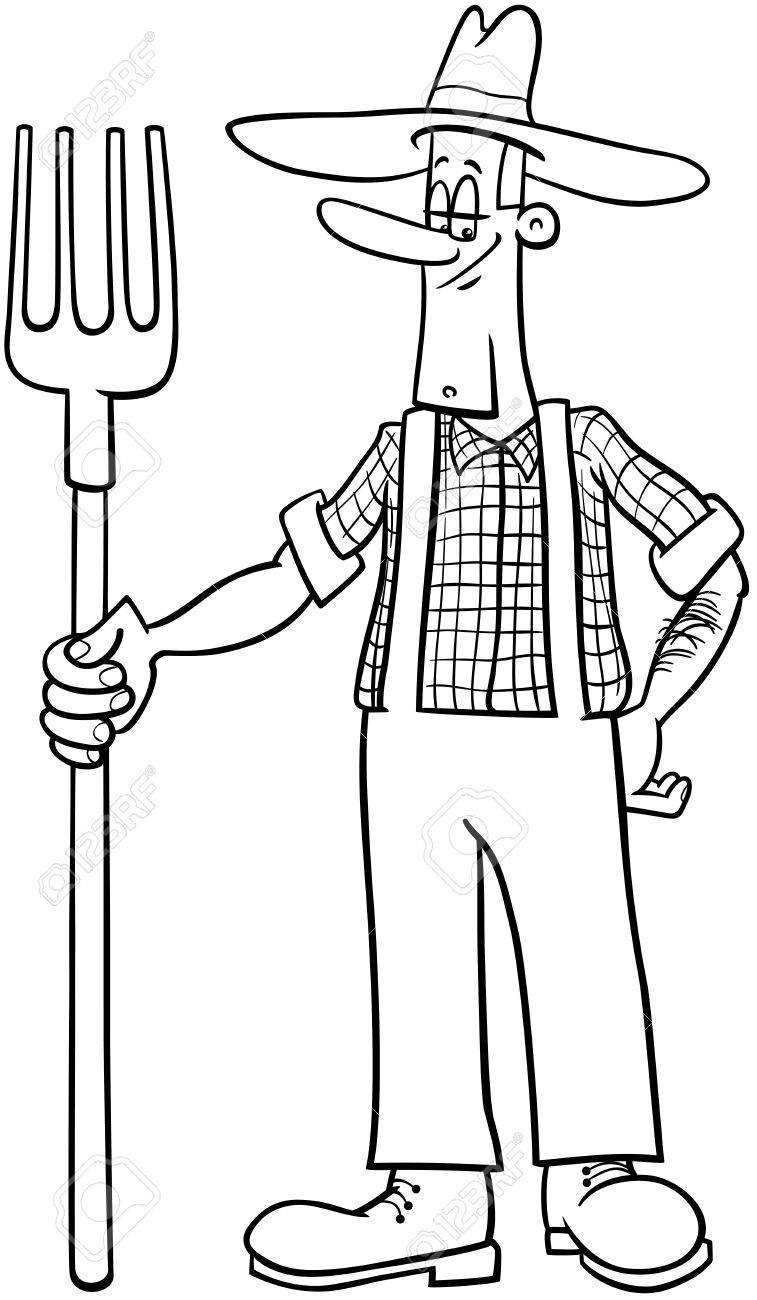 Ilustración De Dibujos Animados Blanco Y Negro Del Granjero