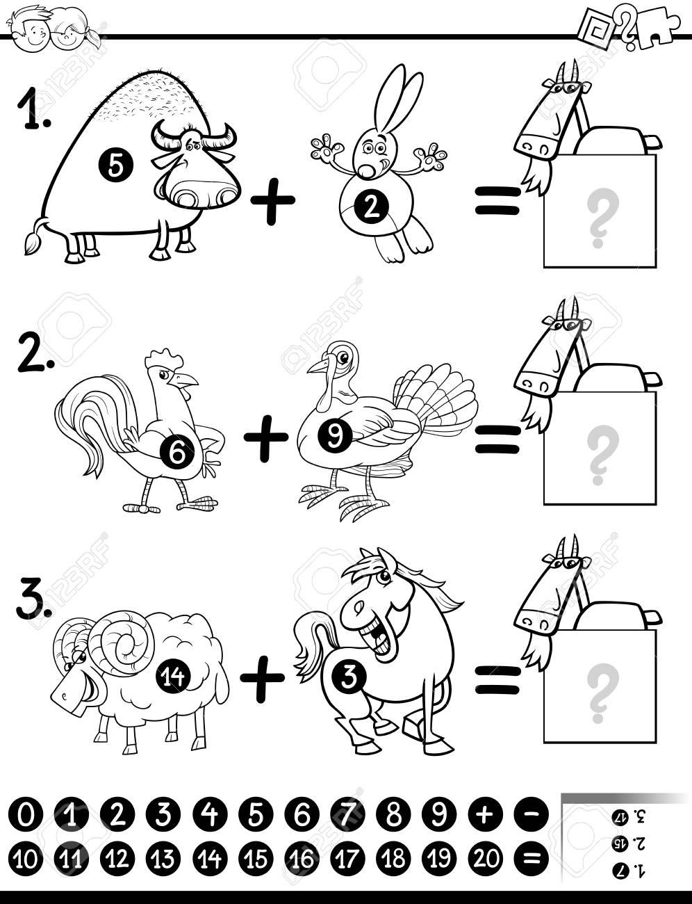 Schwarz Und Weiß Karikatur Illustration Der Ausbildung Mathematische ...