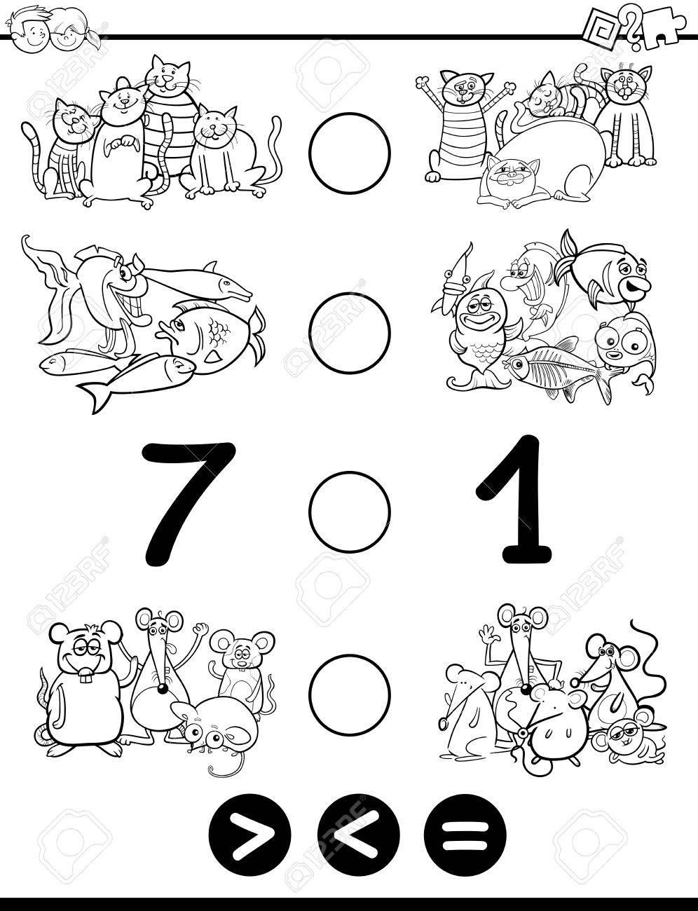 Schwarz Und Weiß Karikatur Illustration Of Educational Mathematische ...