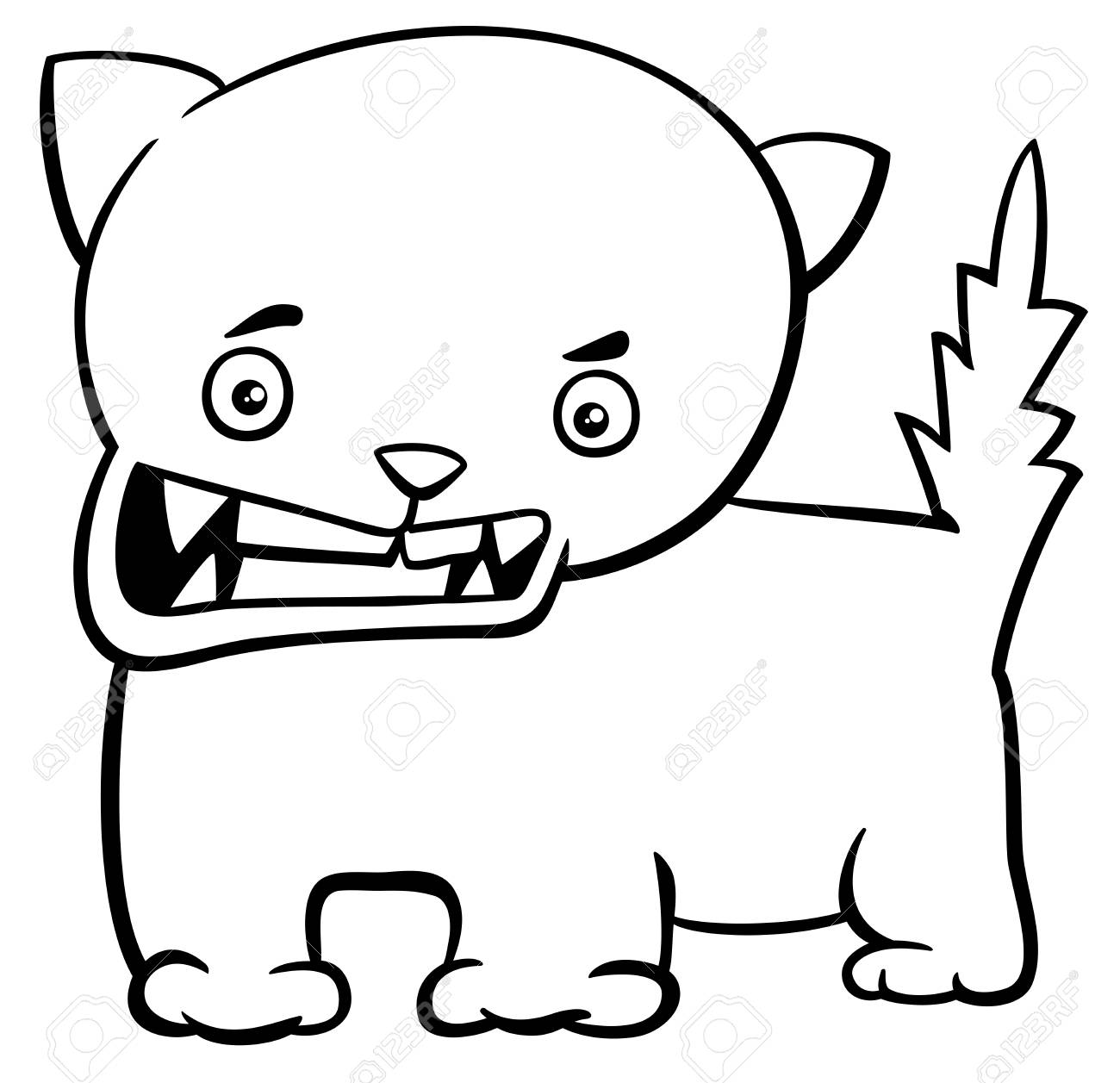 Dibujos Animados De Blanco Y Negro Ilustracion De Gato O Gatito