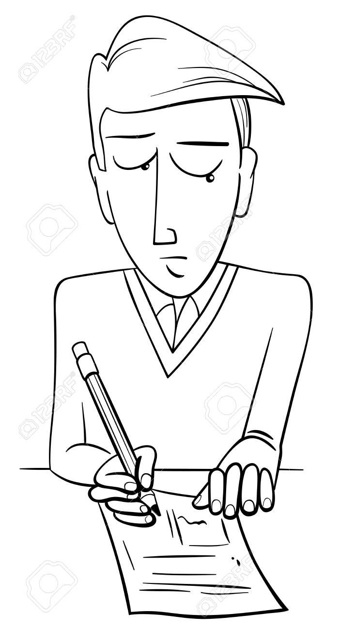 Black And White Cartoon Illustration Of Teenage Boy Student Doing ...