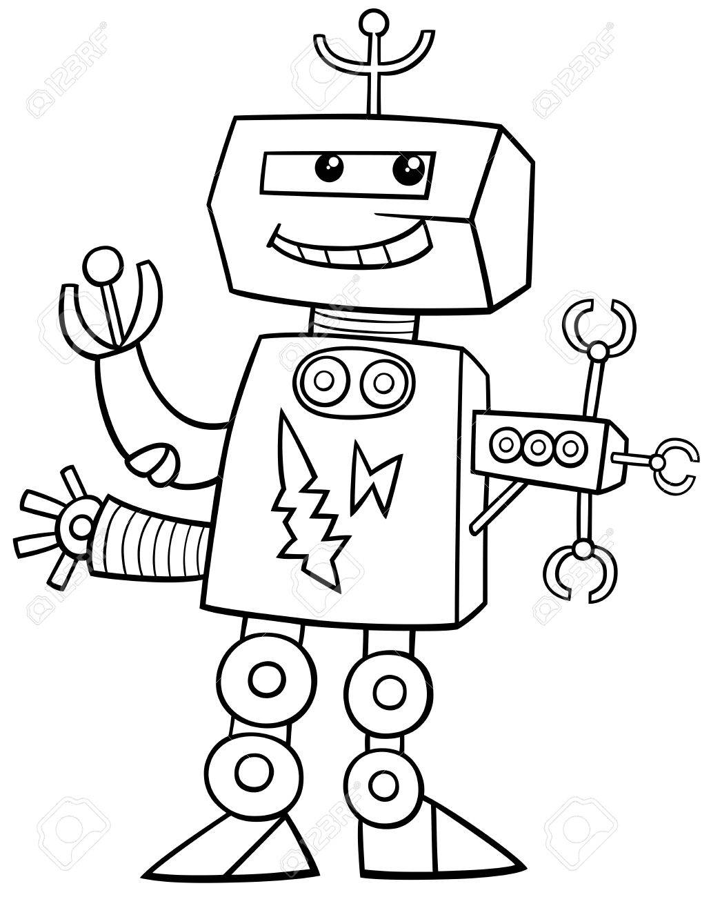 black and white cartoon illustration of robot science fiction