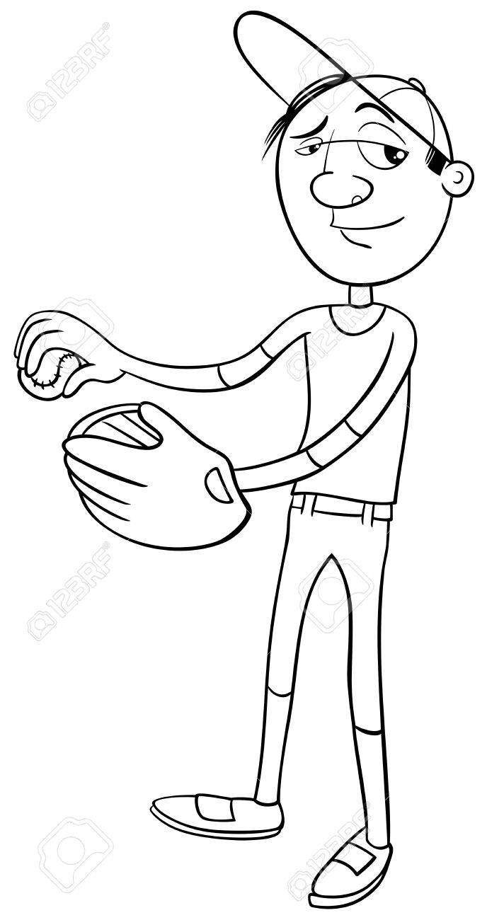 Dibujos Animados De Blanco Y Negro Ilustración De La Jarra Del Jugador De Béisbol Del Personaje Con El Guante Y Pelota Para Colorear