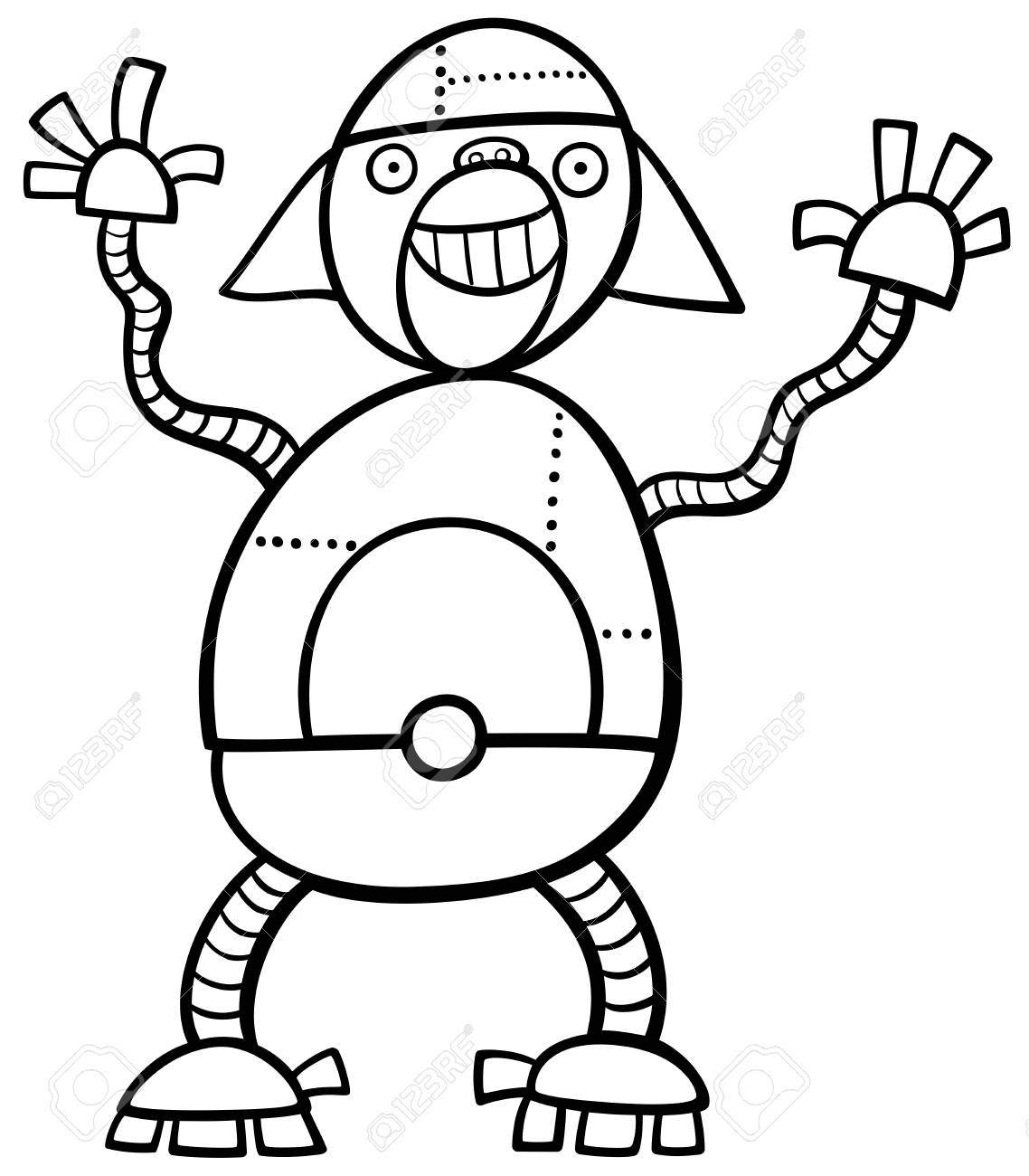 Ilustración De Dibujos Animados Blanco Y Negro De Ape Robot Ciencia Ficción O Personaje De Fantasía Para Colorear