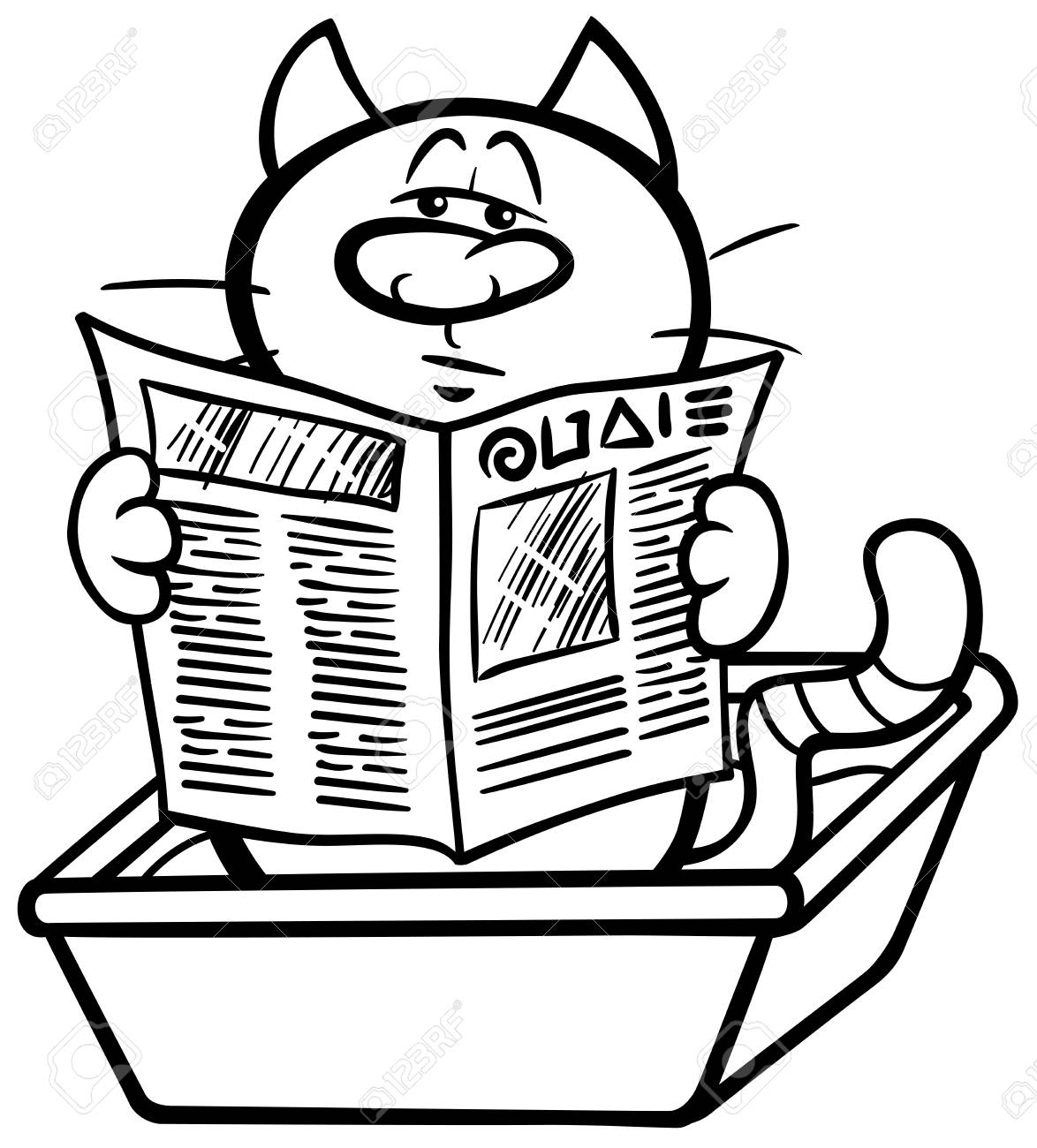black and white cartoon illustration of cat reading a newspaper