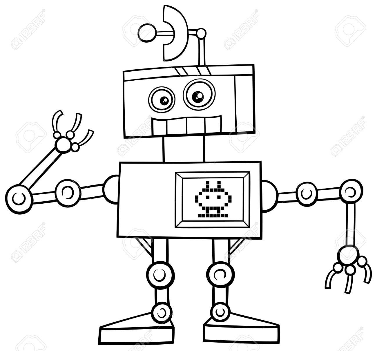 Ilustración De Dibujos Animados De Blanco Y Negro Divertido Del Robot De La Fantasía Del Personaje Página Para Colorear