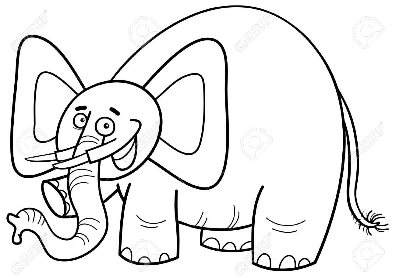 Schwarz Weiß Cartoon Illustration Von Elefant Tier Zeichen Färbung