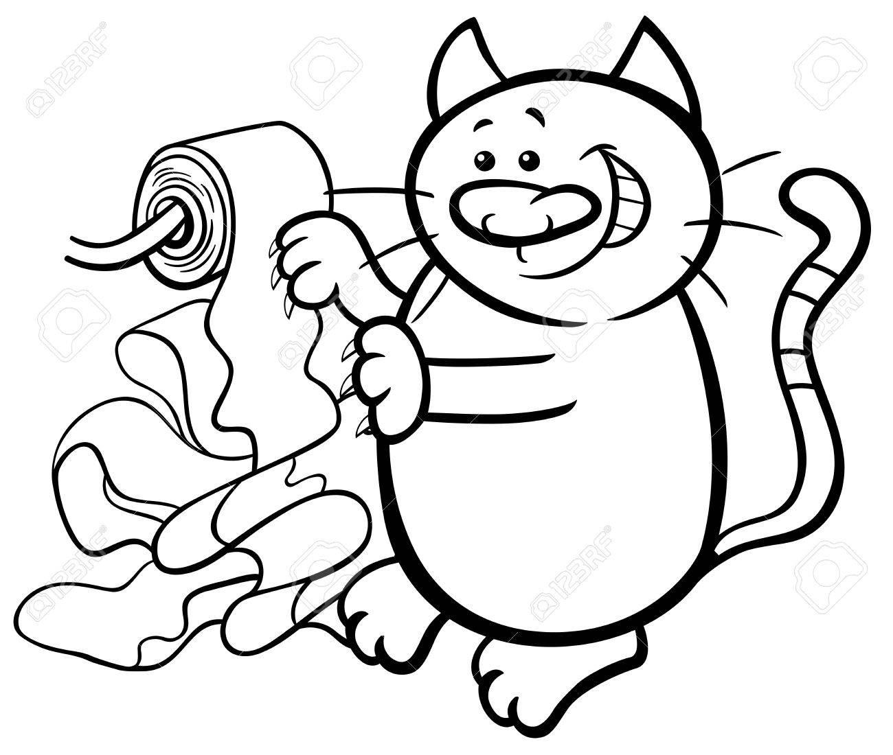 Schwarz-Weiß-Cartoon-Illustration Der Katze Spielt Mit ...