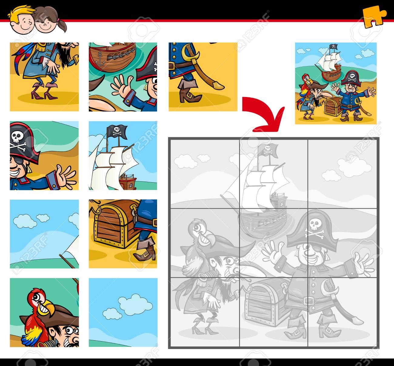 Attività Di Illustrazione Dei Cartoni Animati Per Bambini Con Personaggi Fantasy Dei Pirati