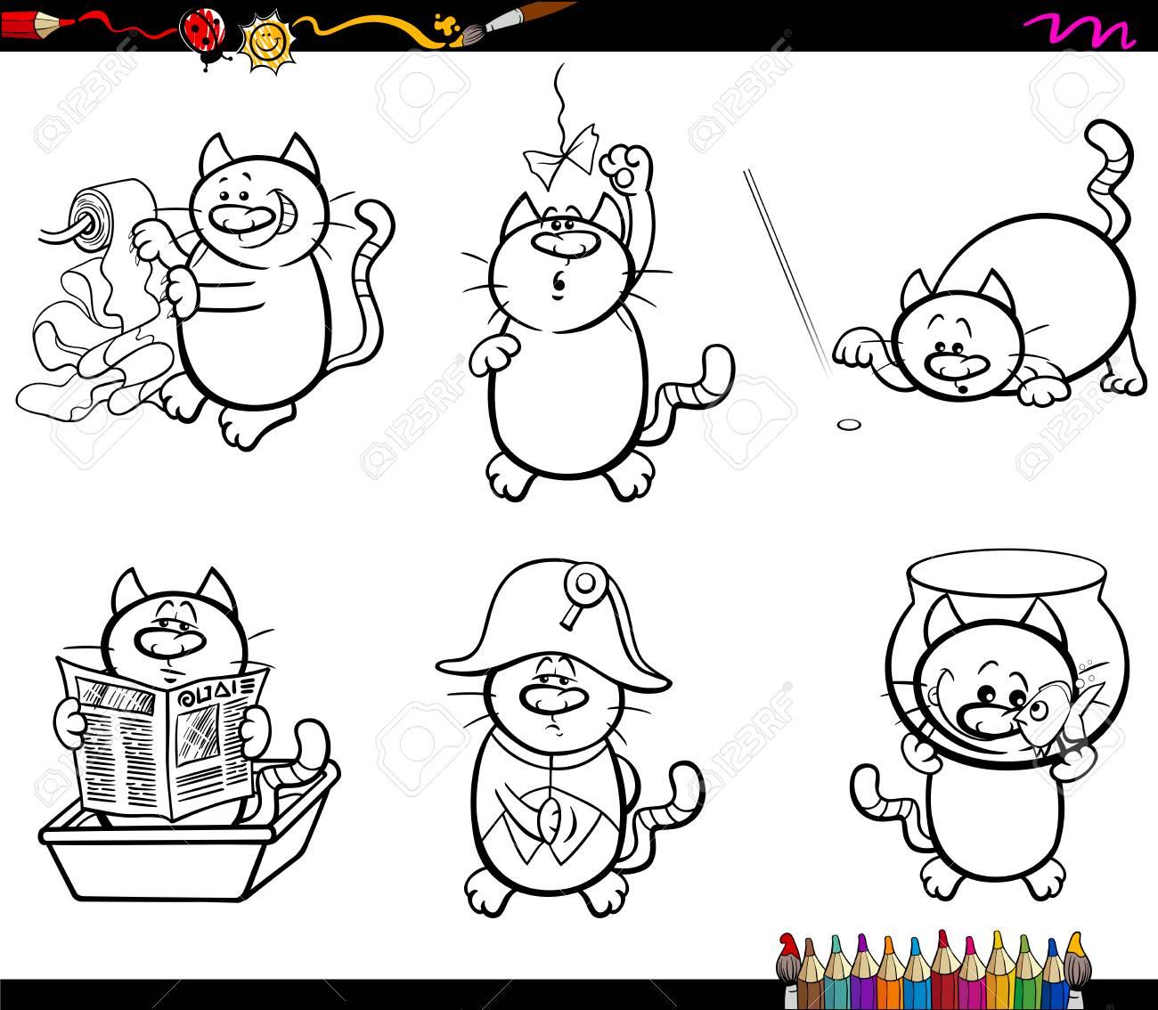 Ilustración De Dibujos Animados Blanco Y Negro Gatos Personajes De ...