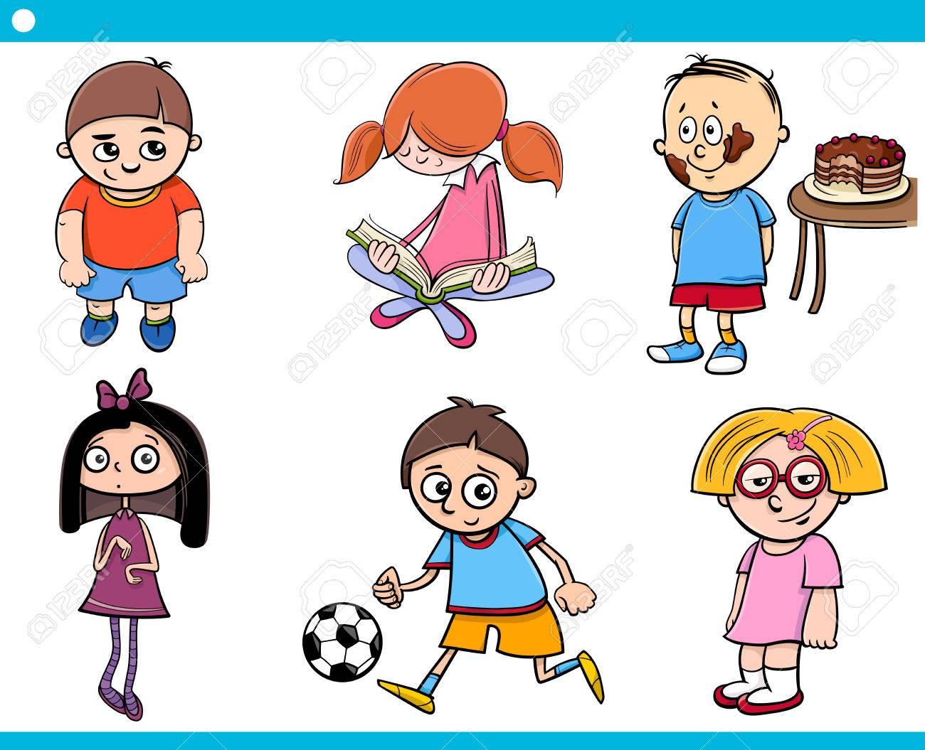 Ilustración De Dibujos Animados De Niños De Edad Escolar Conjunto De